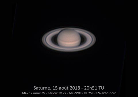 Saturne le 15 août 2018